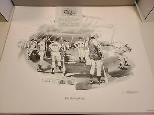 Clint Orlemann 'The Batting Cage' signed print 1974, Cincinnati Reds