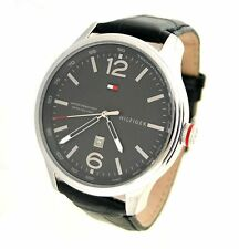 NIB Tommy Hilfiger Gray Dial Black Leather Mens Watch 1710314