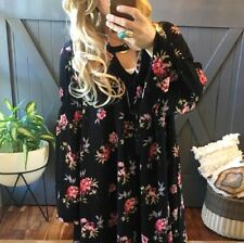XL NWT Bohemian Black Floral Long Sleeve Tunic Top Dress Women's Size X-Large