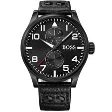 Orologio HUGO BOSS mod. AEROLAINER ref. 1513083 Uomo in pelle nero cassa IP nero