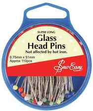 Sew Easy Glass Head Pins 51mm Ideal For Craft, Dressmaking and Patchwork!