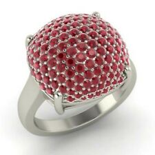 2.50 Ct Genuine Gemstone Ruby Engagement Ring 14K White Gold Rings Size L M N O