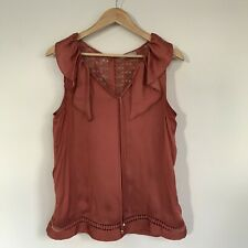 Per Una by M&S Womens Top, Size 14, Embroidered Cami Satin Feel Rose Pink