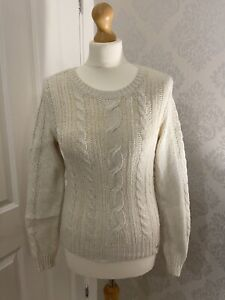 Hollister Off White Cable Knit Jumper Size M
