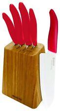 Kyocera Revolution Series 5-Pc Ceramic White Blade Knife Bamboo Block Set NEW