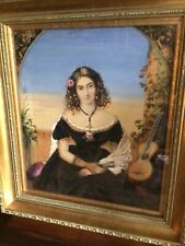 More details for 19th century...continental watercolour...young spanish lady holding a fan.