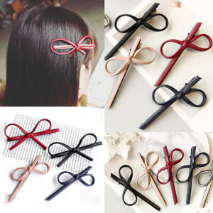 1X Bowknot Barrette Leather Hairpin Hair Clip For Women Girl Hair Accessories