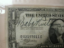 Babe Ruth PSA 8.5 signed 1935 Silver Certificate with NY Football great Ken S