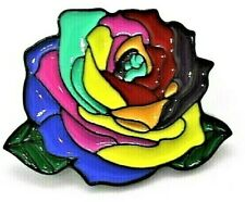 BEAUTIFUL ROSE RAINBOW LAPEL METAL PIN BADGE LGBT GAY LESBIAN DIVERSITY PRIDE