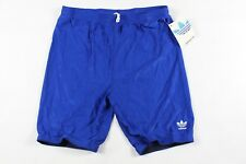 Vintage 80s New Adidas Mens Small Spell Out Spandex Running Cycling Shorts Blue