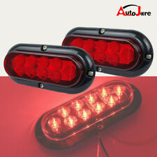"6"" 10 LED Surface Mount Oval Red Turn Signal Side Marker Tail Warning light 12V"