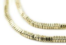 Faceted Gold Color Square Beads 4mm, 16 Inch Strand Unusual Brass