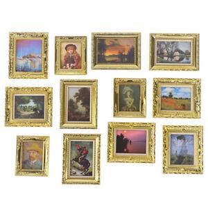 Dollhouse Miniature 1:12 Mini Decorative Accessories Antique Frame Oil Painti^qi