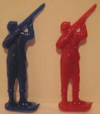 2 Old Plastic Cracker Jack Toy Prizes - Hunter w/ Upraised Rifle Gun
