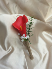 Real Touch Calla Lily Buttonholes Boutonnieres - Red - wedding
