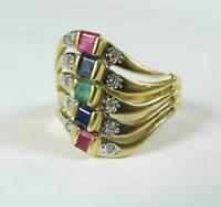 Estate 5 Bands Ruby Sapphire Emerald Diamond Cocktail Ring 14K Yellow Gold Over