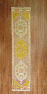 Vintage Turkish Oushak Ushak Rug Runner Size 1'11''x8'3''