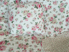 2 Piece Pretty Floral Cotton Quilted Bed of Roses Throw Rug & Cushion Cover