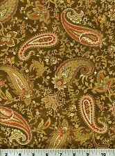 Fabric #2259, Red Pink Green Brown Paisley on Brown Henry Glass Sold by 1/2 Yard