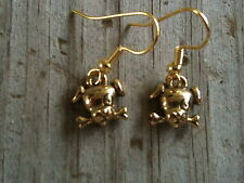Cute Dog Head with Bone Gold Plated Lead Free Pewter Earrings