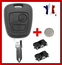 Coque Plip Clé Télécommande Peugeot 106/206/107/207/307/ +2 Switch Bouton +Pile