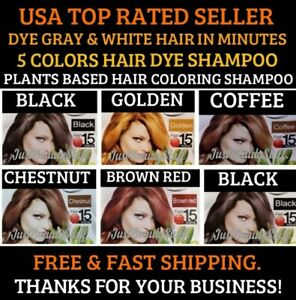 COLOR GRAY HAIR INSTANT COFFEE BROWN DYE SHAMPOO FAST EASY COLORING WOMEN&MEN