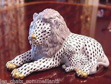 HEREND, LION AND THE  LAMB PORCELAIN FIGURINE, BLACK FISHNET, FLAWLESS, $1350