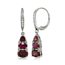 Sterling Silver Created Ruby and White Topaz 3-Stone Dangle Leverback Earrings