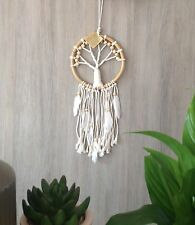 Bamboo 16cm Tree Of Life Web Dream Catcher Wood Beads & White Feathers