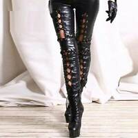 Women's Punk Gothic Hollow Out Lace-up Pencil Long Pants Skinny Leggings Club