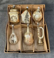 Box of 6 Antique German Embossed Mold Blown Glass Mica Christmas Tree Ornaments