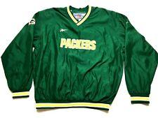 Reebok Green Bay Packers Mens Green L/S Windbreaker Sweatshirt Size Large