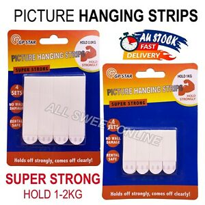 4pcs Picture Hanging Mounting Strips Removable Adhesive Strips Hooks Hold 1-2kg
