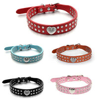 2 Rhinestone Bling Heart Studded Leather Dog Collar For Small Medium Pet O3N
