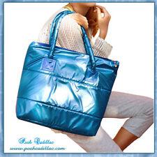 All Season Waterproof Handbag Women's Mens Unisex Puffy Metallic Aqua Blue Bag