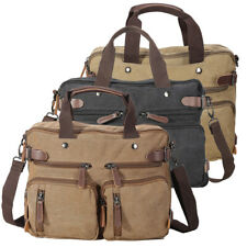 """Men Leather Canvas 14"""" Laptop Briefcase Backpack Shoulder Bag Crossbody Satchel"""