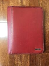 Franklin Covey Planner Classic Size Red Leather Zipper Agenda W/ Ruler Notebook