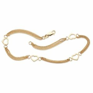 """14k Yellow Gold over .925 Sterling Silver Open Heart Station Ankle Bracelet 10"""""""
