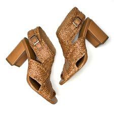 H HALSTON Penelope Block Heel Woven Leather Sandals Sz 6.5 Brown Square Toe