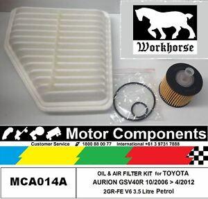 OIL & AIR FILTER KIT for TOYOTA  AURION  2GR-FE 3.5L V6 10/2006 > 4/2012
