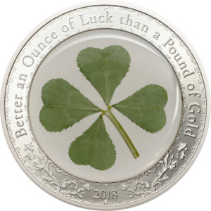 """NOT PERFECT COIN - 2018 Palau FOUR 4 LEAF CLOVER """"Ounce of Luck"""" Silver $5 Proof"""