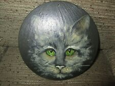 Circular Hand painted Slate picture / plaque - CAT with green eyes