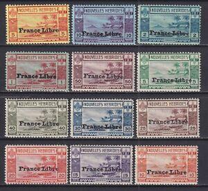 NEW HEBRIDES 1941, SG# F65-F76, CV £200, Nature, Overprint, MNH/MH