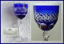 COBALT BLUE Wine Goblet Glass Hock CUT TO CLEAR Lead CRYSTAL AnnaHuette GERMANY