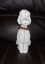 Vintage Cast Iron White Poodle Dog Coin Bank, Nice Original Paint and Collar