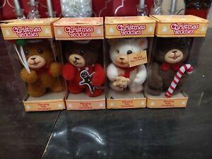 Vintage Velvet Soft Christmas Teddies Hanging Tree Ornaments by Jasco w/ Boxes