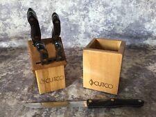 Cutco 5 pc knife Set 1729 (2) 1721 1720 1768 W/4 Slot block & Utensil Box Caddy