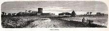 Ostia Antica: Panorama. Roma. Stampa Antica + Passepartout. 1860