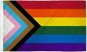 Progress Pride Rainbow Flag 4x6 ft HUGE LGBTQ Gay Lesbian Trans People of Color