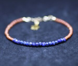 Goldstone and Natural Lapis Bracelet 14k Gold Filled 9th Anniversary Good Luck